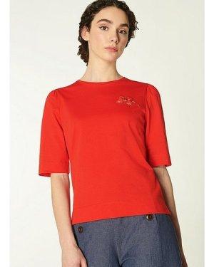 Debbie Red Cotton Poppy Print T-Shirt, Red