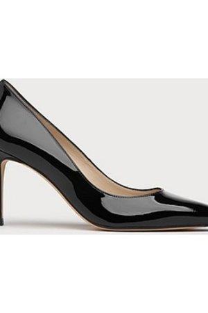 Floret Black Patent Leather Pointed Toe Court, Black