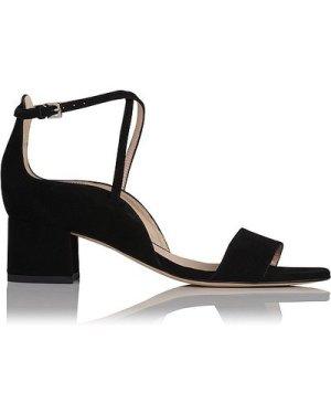 Dina Black Suede Formal Sandals, Black