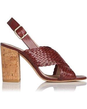 Mel Burgundy Woven Leather Formal Sandals, Damson
