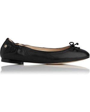 Thea Black Leather Flats, Black