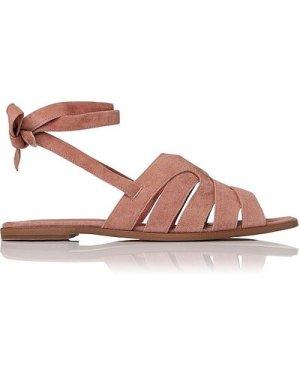 Selma Dark Pink Suede Flat Sandals, Dark Pink