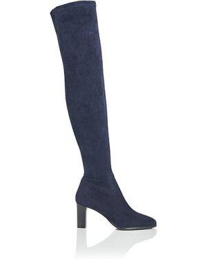 Kaori Navy Stretch Suede Knee Boots, Navy