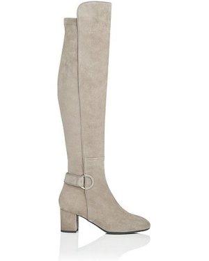 Amba Silver Birch Stretch Suede Knee Boots, Silver Birch