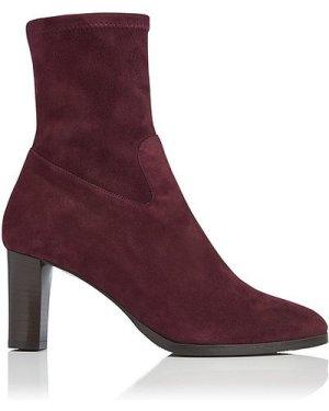 Kayla Oxblood Stretch Suede Ankle Boots, Oxblood