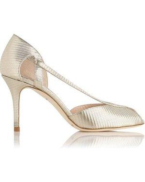 Liya Gold Leather Sandals, Soft Gold