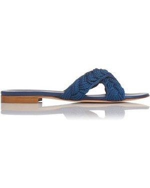 Dara Blue Leather Flat Sandals, Marine