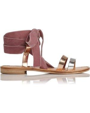 Harmonia Flat Sandals, Rose Gold Pink