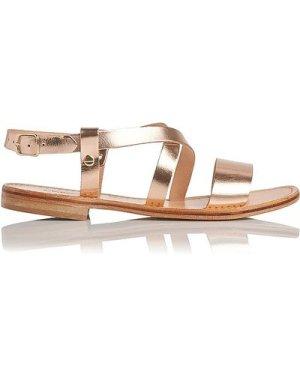 Hemera Rose Gold Flat Sandals, Rose Gold