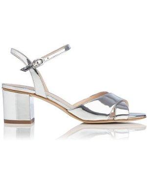 Tabitha Silver Block Heel Sandals, Silver