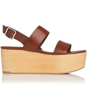 Colleen Brown Leather Sandals, Dark Saddle
