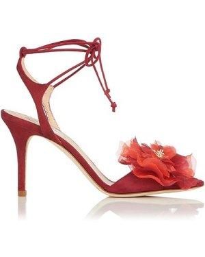 Scarlet Poppy Suede Sandals, Poppy