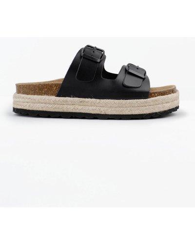 hush black Woodstock Sandals Black