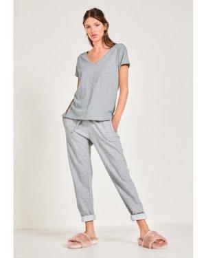 hush grey-marl Cali Cotton Slub V Tee Grey Marl
