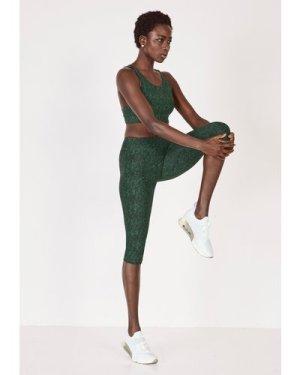 hush khaki-snakeskin-print Multi Strap Sports Bra Green