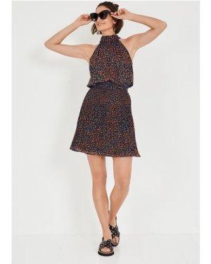 hush daisy-dot-navy Nevah Pleated Mini Skirt Black