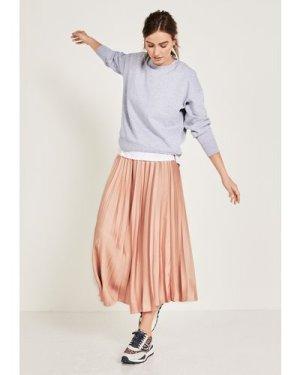 hush gold-metallic Pleated Metallic Maxi Skirt Rose Gold