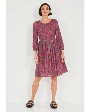 hush vintage-floral-pink Adalyn Shirred Jersey Dress Pink floral