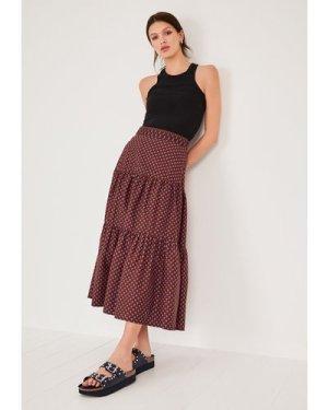 hush vintage-geo-blue Astrid Tiered Skirt Blue/burgundy