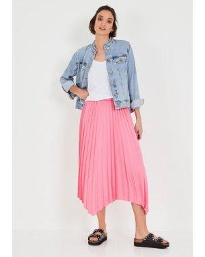 hush pink Rosaline Pleated Midi Skirt Pink