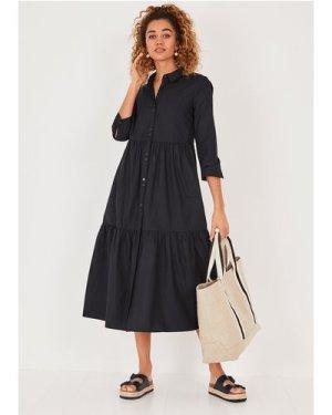 hush black Cersie Cotton Poplin Midi Dress Black
