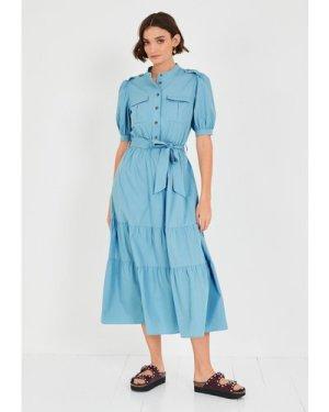 hush blue Trudy Poplin Utility Dress Khaki