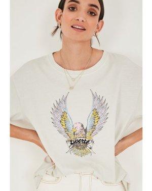hush vapour-blue-print Eagle Boyfriend T-Shirt Cream