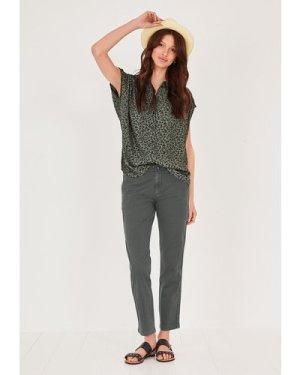hush mini-animal-khaki Selena Printed Short Sleeved Shirt Khaki Animal print
