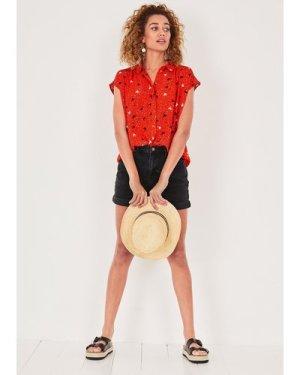 hush birds-hearts-red Selena Printed Short Sleeved Shirt Red printed