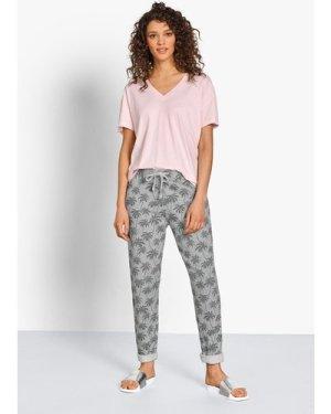 hush soft-pink-v-tee Cotton-Linen Blend T-Shirt Pink