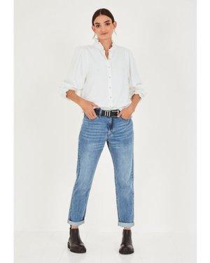 hush egret Zinnia Frilled Shirt White