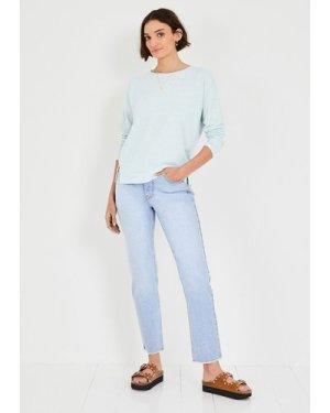 hush palest-blue Long Sleeve Cotton Blend Top Blue