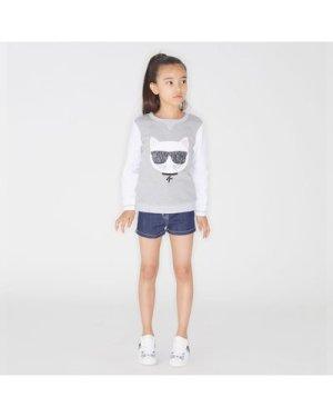 Denim shorts KARL LAGERFELD KIDS KID GIRL