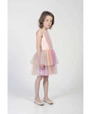 Multicolour dual-fabric dress CHARABIA KID GIRL