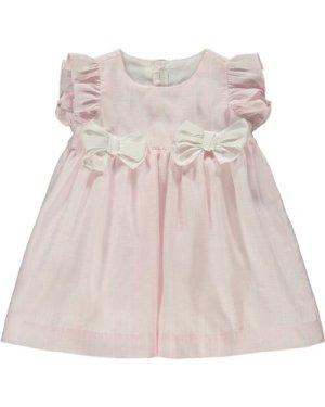Bow Lined Stripe Linen Dress