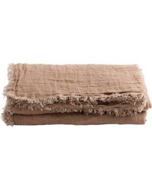 Vice Versa Washed Linen Gauze Fringed Plaid