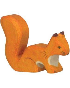 Wooden Standing Squirrel Figurine
