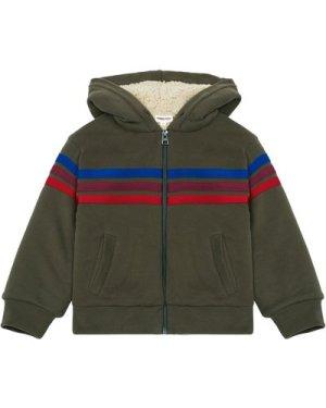 Fake fur-lined sweatshirt with zipper