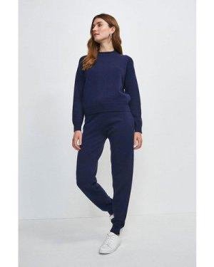 Karen Millen Eyelet Lace Detail Knitted Jumper -, Navy
