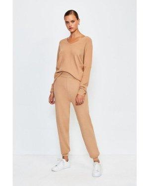 Karen Millen Knit Soft Yarn Cuffed Jogger -, Camel