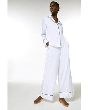 Karen Millen Cotton Stripe Nightwear Trouser -, White