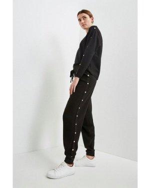 Karen Millen Soft Yarn Rivet Cuffed Jogger -, Black