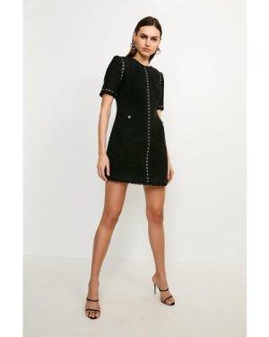 Karen Millen Boucle Stud Trim Dress -, Black