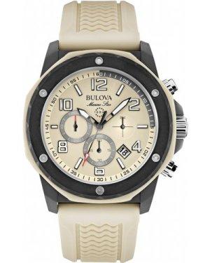 Mens Bulova Marine Star Duramic Cream Chronograph Watch 98B201