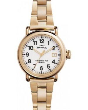 Unisex Shinola Runwell 36mm Gold 3 Link Watch S0120001105