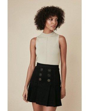 Womens Button Front Denim Pleated Skirt