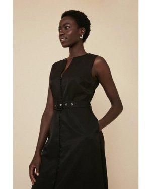 Womens Button Front Midi Dress