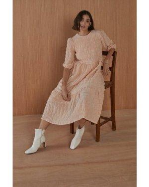 Womens Textured Tiered Midi Dress