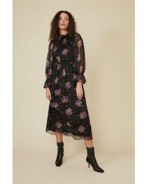 Womens Floral Spot Piecrust Midi Dress