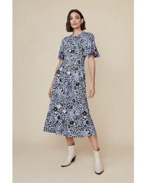 Womens Printed Angel Sleeve Midi Dress